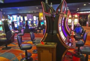The inside design and slots in Akwesasne Mohawk Casino Resort