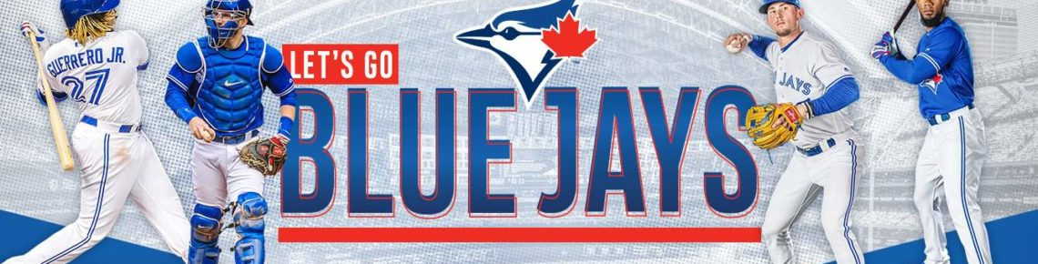 Players of Toronto Blue Jays team on the background of Blue Jays Logo
