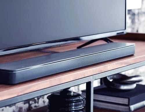 Sound bar near the TV