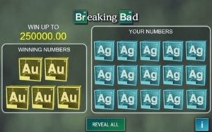 Breaking Bad online scratchcard with the win of 25000
