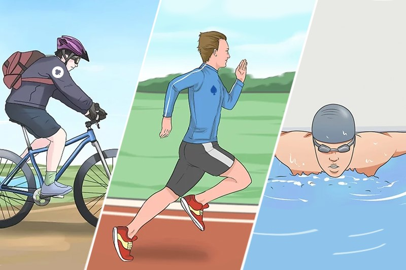 First man is cycling, second man is running, third man is swimming