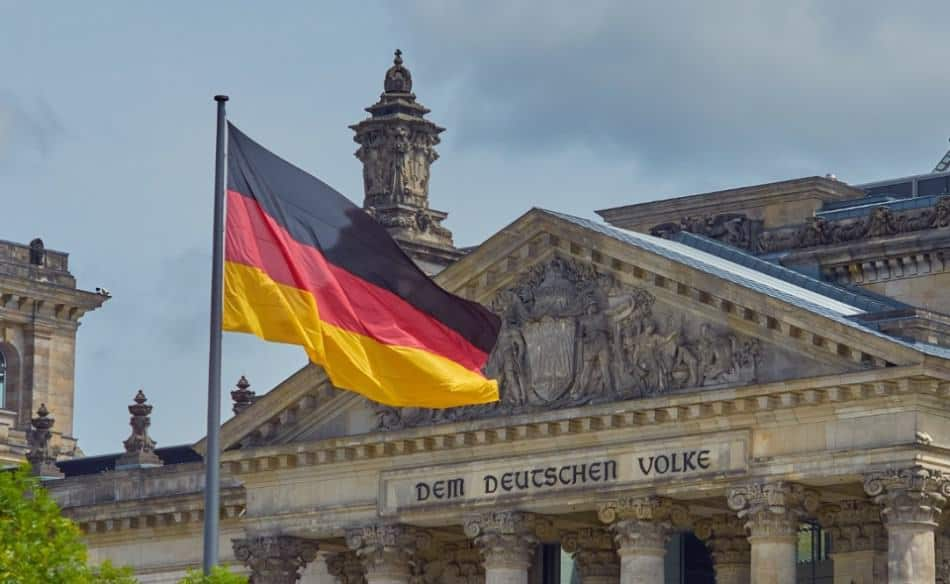 German flag amidst the government building