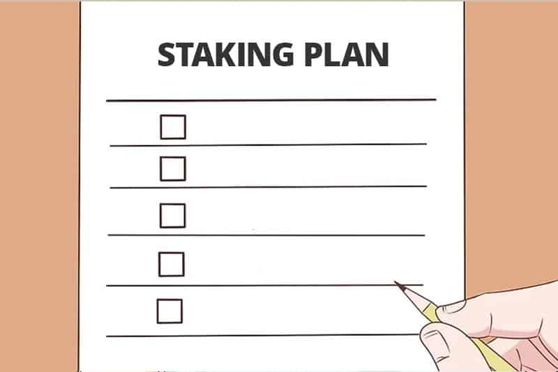 A man is making a staking plan