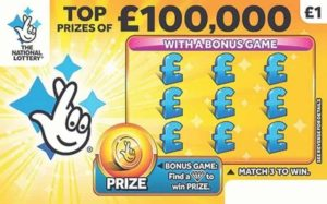 Scratch card of the National Lottery with the prize of 100000 pounds