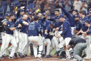L'équipe des Rays de Tampa bay profite de la victoire