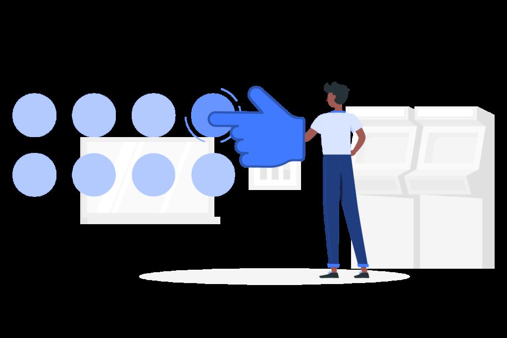 Un jeune noir appuie sur un bouton avec un gros gant bleu