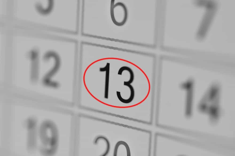 13 number of the month is on the calendar