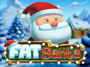 Le Père Noël mignon est au dessus du logo de la fente en ligne Fat Santa