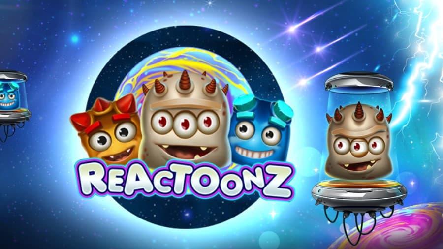 Logo of Reactoonz online slot with big bonuses