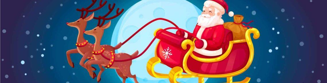 Le Père Noël vole dans le ciel avec deux Rennes