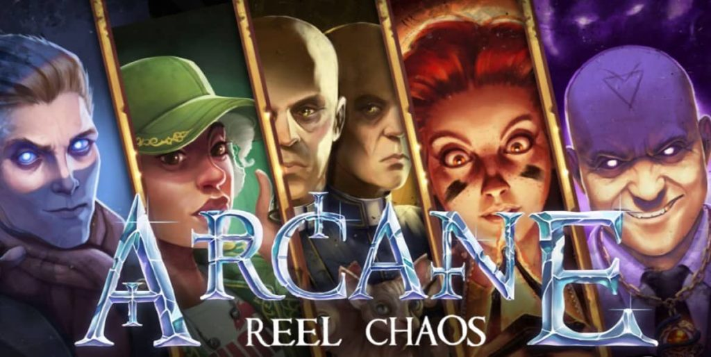 Main characters and a logo of Arcane: Reel Chaos online slot by NetEnt