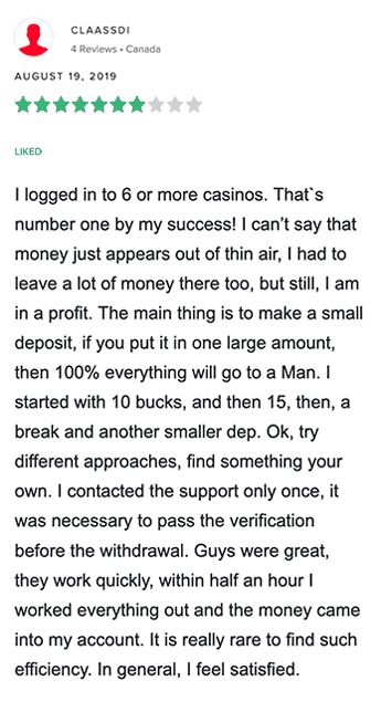 Positive review of Calzone Casino from Canadian player