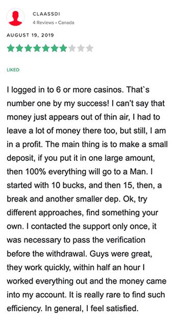 Critique positive de Calzone Casino du joueur Canadien