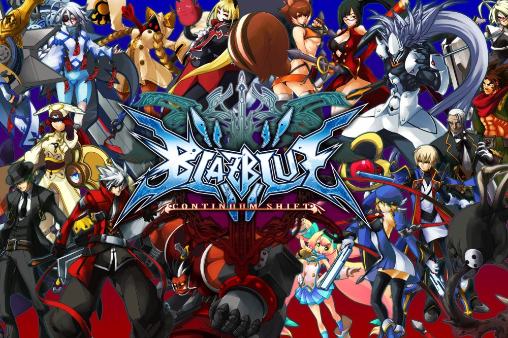 Logo and heroes of BlazBlue: Central Fiction video game