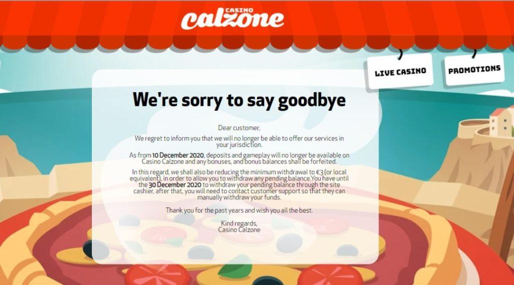 L'avis de Calzone Casino fermeture sur leur site officiel