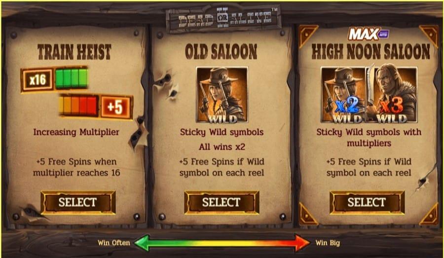 Trois fonctionnalités pour obtenir des free spins dans Dead or Alive 2 fente en ligne par NetEnt