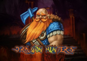 A hunter with an ace on the logo of Dragon Hunter Slot Game