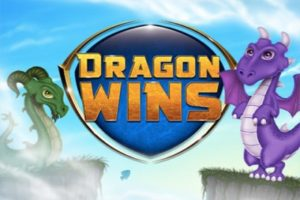 A logo with the dragons of Dragon Wins Slot Game