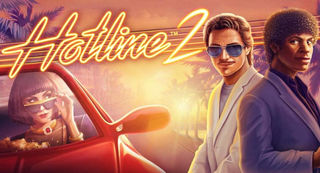 Main characters and logo of Hotline 2 online slot by NetEnt