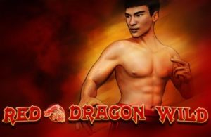 A topless man on the logo of Red Dragon Wild Slot game
