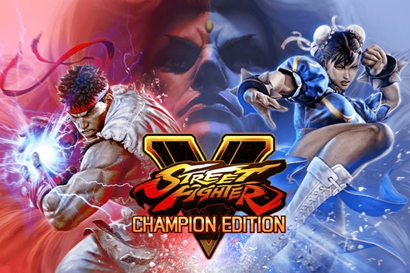 Logo and heroes of Street Fighter V video game