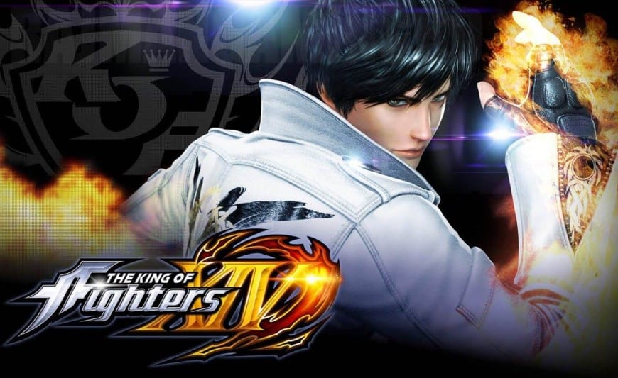 Logo and a magic hero of The King of Fighters XIV video game