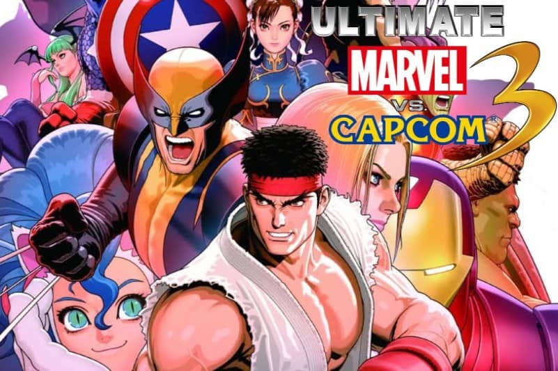 Logo and heroes of Ultimate Marvel vs. Capcom 3 video game