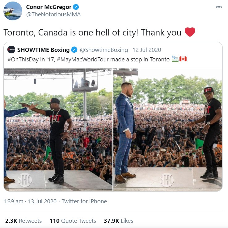 McGregor and Drake are standing at the same stage in Toronto