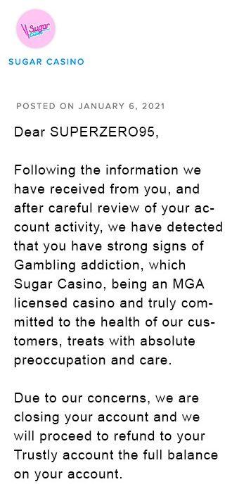 Sugar Casino répondu Superzero95 sur AskGamblers