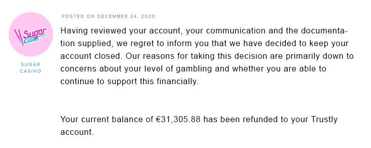 Sugar Casino closed the account of Torsten4real with 130000 euro savings on AskGamblers