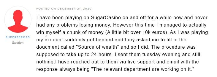 A complaint of Superzero95 player about Sugar Casino on AskGamblers