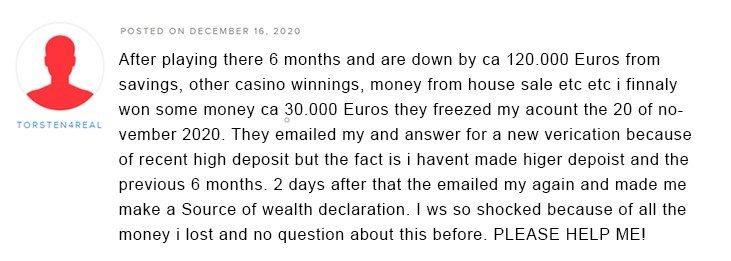 Torsten4real complaint about Sugar Casino on AskGamblers