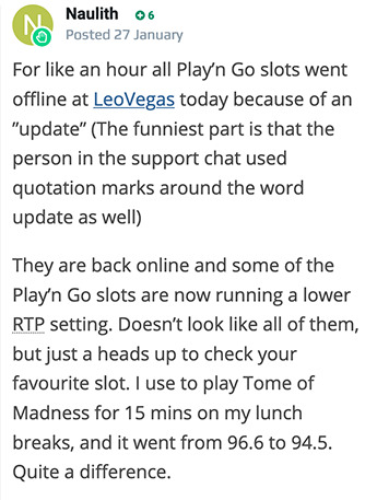 "Player complains about LeoVegas ""update"" mobile"