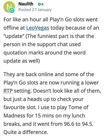 """Le joueur se plaint de la"""" mise à jour """" de LeoVegas mobile"""