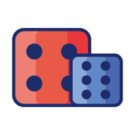 red and blue dices