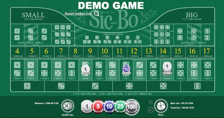 Sic Bo demo game — best way to learn a basic strategy