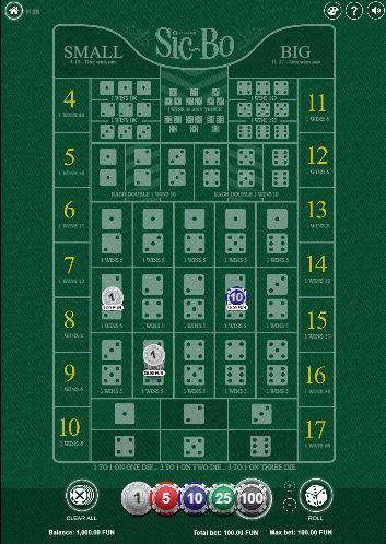 Sic Bo mobile demo game
