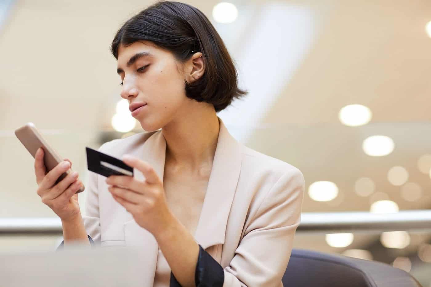 Woman using online bank