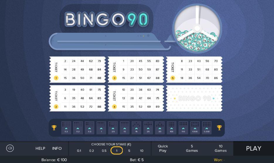 The interface of online bingo