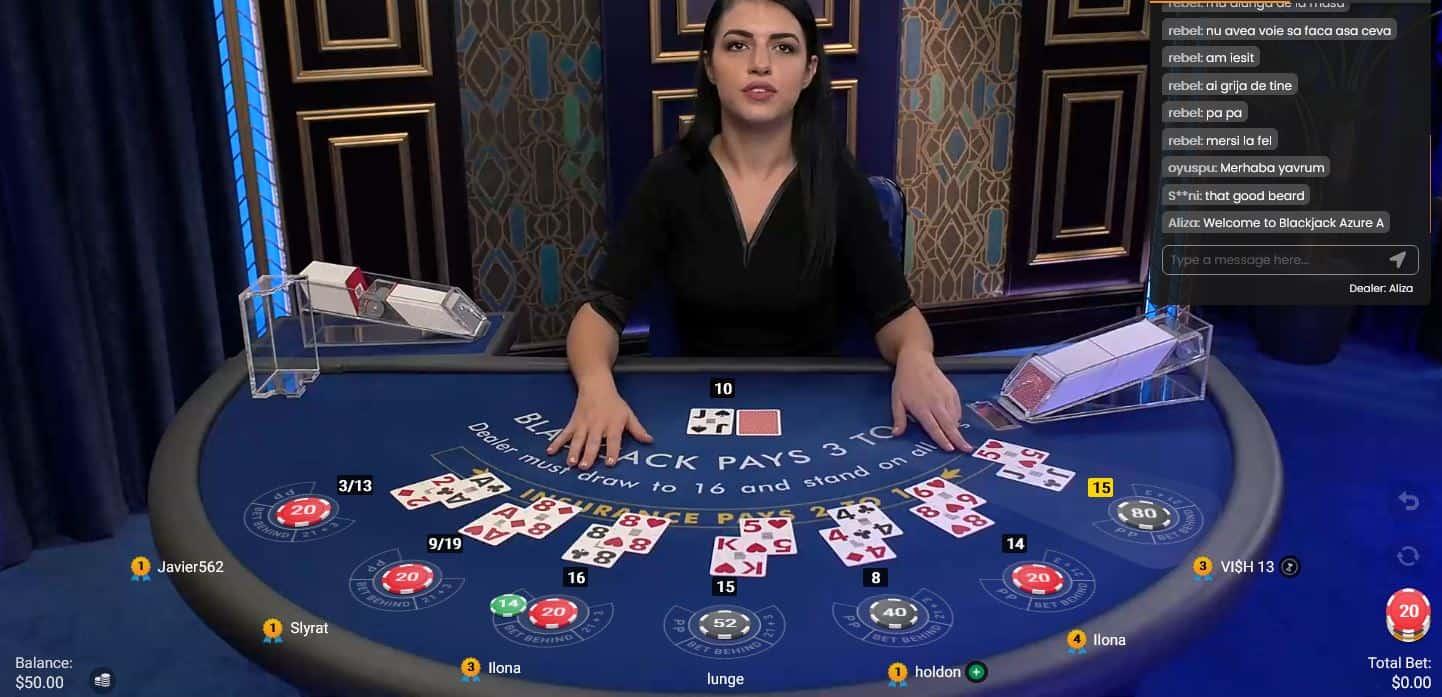 Online blackjack game with dealer