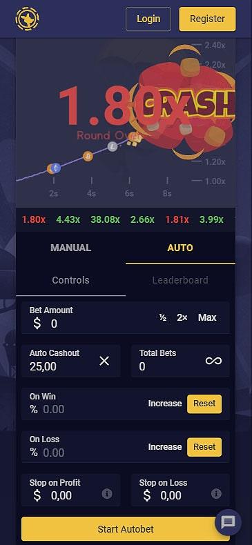Crash game mobile screenshot