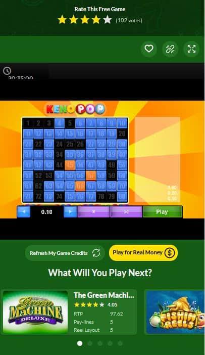 keno pop mobile game demo