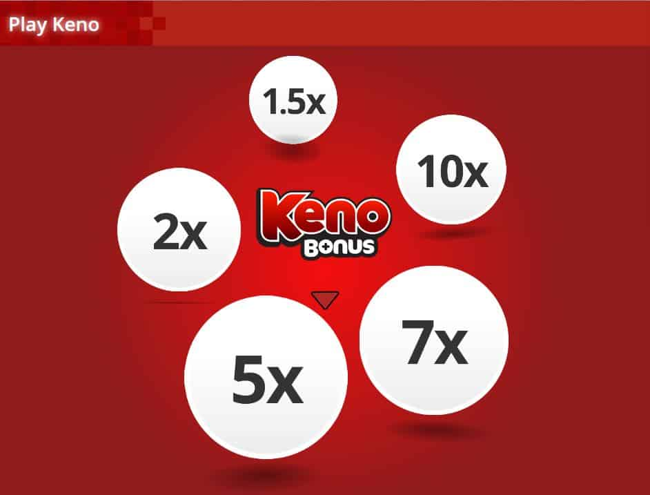 Keno game on red background