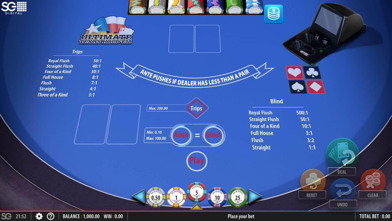 texas holdem poker online on blue table
