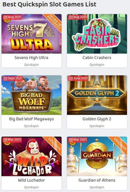 Quickspin Slot Games mobile List