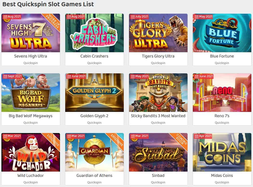 Quickspin Slot Games List