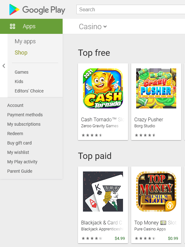 Casino apps in google play