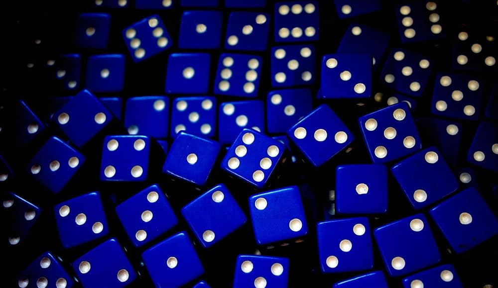 lots of blue dices