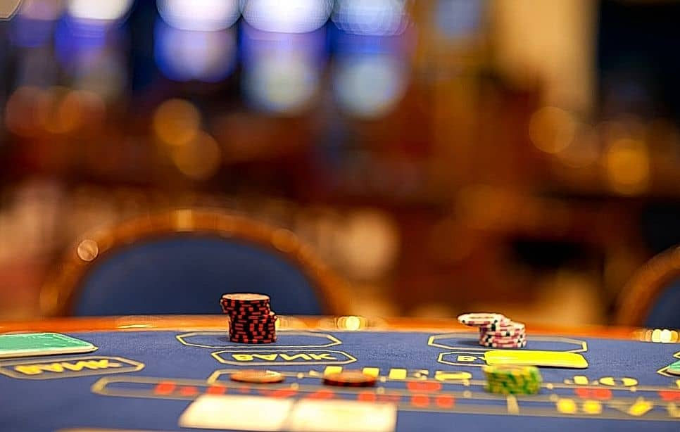 Blackjack game blue table
