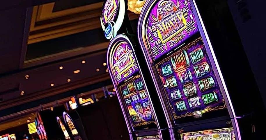 slot machines in the dark room